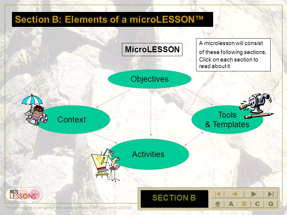 ABCQ Template designed by Mr Kenneth Wee Copyright © 2000 NIE A SECTION A In summary: A microLESSON is student centered focuses a small section of a t