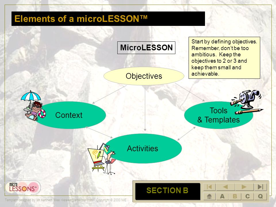 ABCQ Template designed by Mr Kenneth Wee Copyright © 2000 NIE B SECTION B Section B: Elements of a microLESSON Context Activities Tools & Templates MicroLESSON Objectives A microlesson will consist of these following sections.