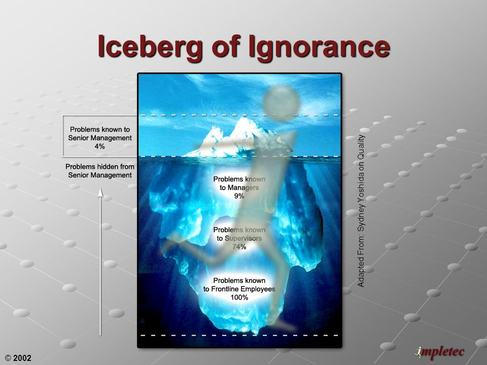 © 2002 Iceberg of Ignorance Adapted From: Sydney Yoshida on Quality