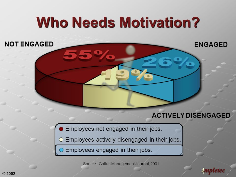 © 2002 NOT ENGAGED ENGAGED ACTIVELY DISENGAGED Who Needs Motivation? Employees not engaged in their jobs. Source: Gallup Management Journal, 2001 Empl