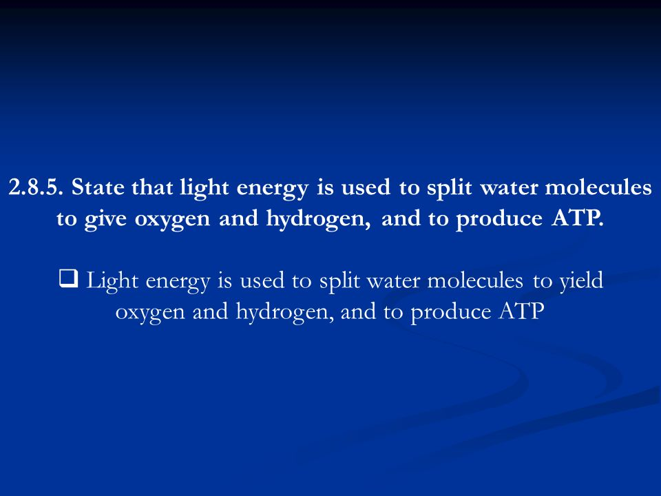 2.8.5. State that light energy is used to split water molecules to give oxygen and hydrogen, and to produce ATP. Light energy is used to split water m