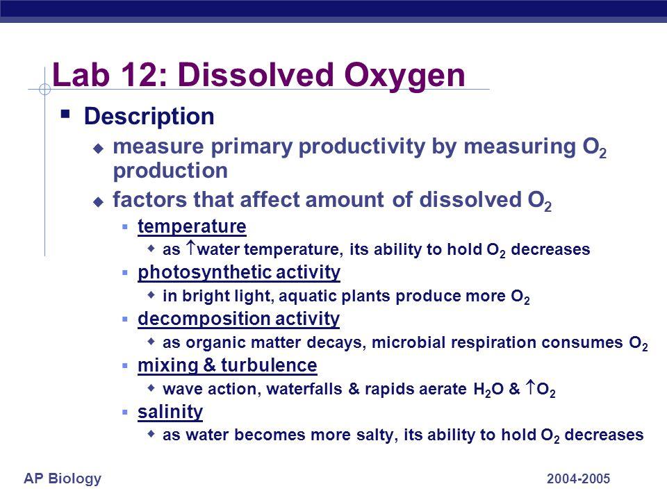 AP Biology 2004-2005 Lab 12: Dissolved Oxygen Description measure primary productivity by measuring O 2 production factors that affect amount of disso
