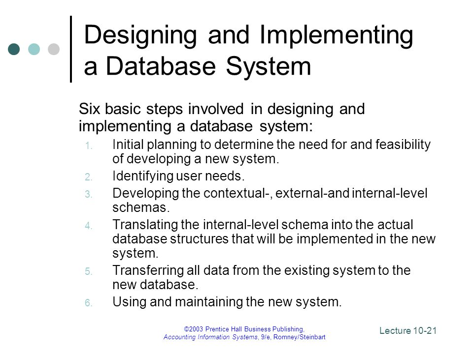 Lecture 10-21 ©2003 Prentice Hall Business Publishing, Accounting Information Systems, 9/e, Romney/Steinbart Designing and Implementing a Database Sys