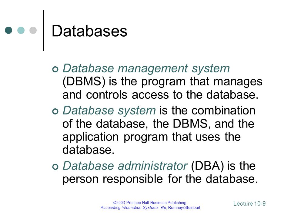 Lecture 10-10 ©2003 Prentice Hall Business Publishing, Accounting Information Systems, 9/e, Romney/Steinbart Relational Databases A data model is an abstract representation of the contents of a database.