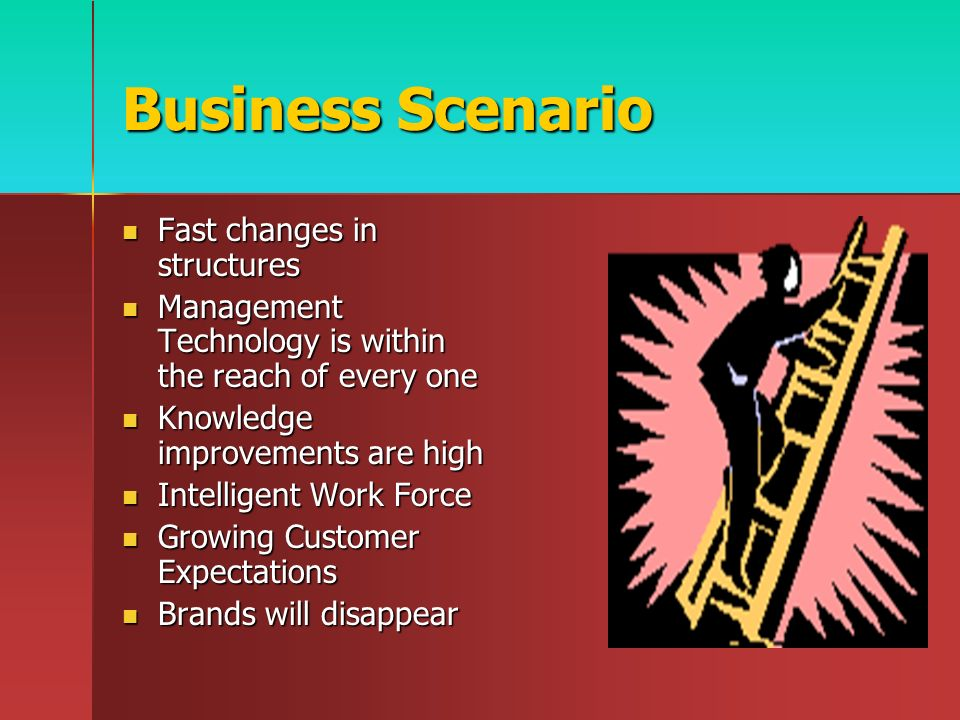 Business Scenario Fast changes in structures Fast changes in structures Management Technology is within the reach of every one Management Technology is within the reach of every one Knowledge improvements are high Knowledge improvements are high Intelligent Work Force Intelligent Work Force Growing Customer Expectations Growing Customer Expectations Brands will disappear Brands will disappear