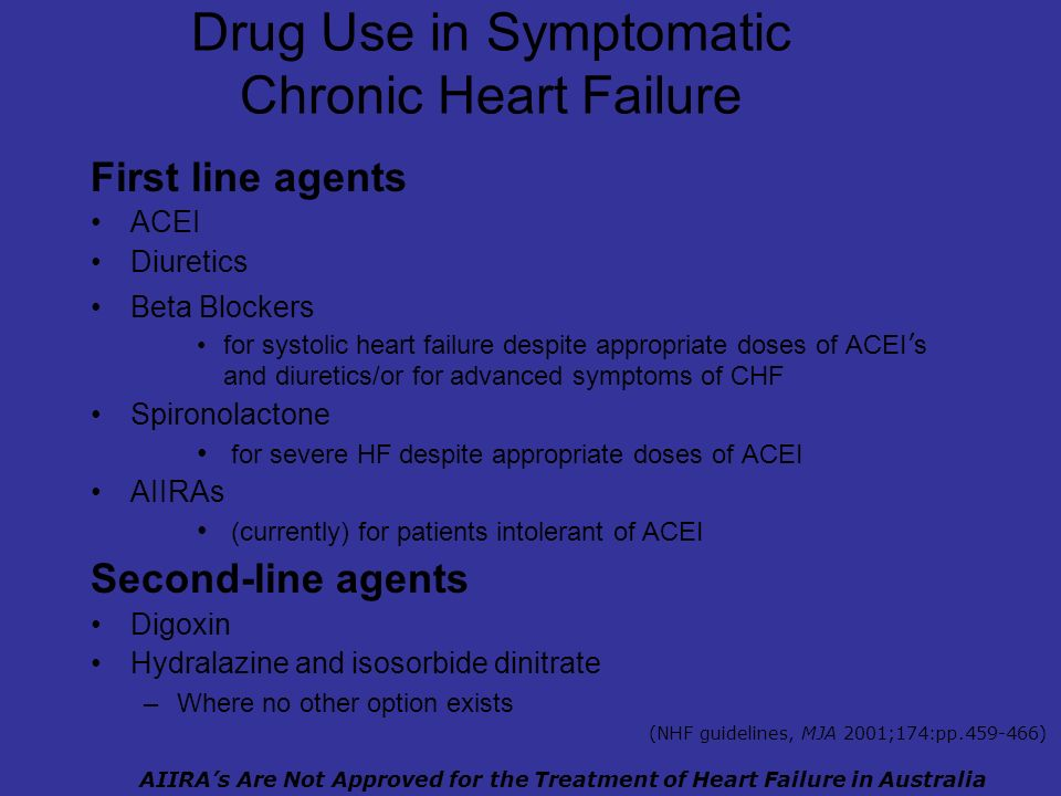 Drug Use in Symptomatic Chronic Heart Failure First line agents ACEI Diuretics Beta Blockers for systolic heart failure despite appropriate doses of ACEI s and diuretics/or for advanced symptoms of CHF Spironolactone for severe HF despite appropriate doses of ACEI AIIRAs (currently) for patients intolerant of ACEI Second-line agents Digoxin Hydralazine and isosorbide dinitrate –Where no other option exists AIIRAs Are Not Approved for the Treatment of Heart Failure in Australia (NHF guidelines, MJA 2001;174:pp.459-466)