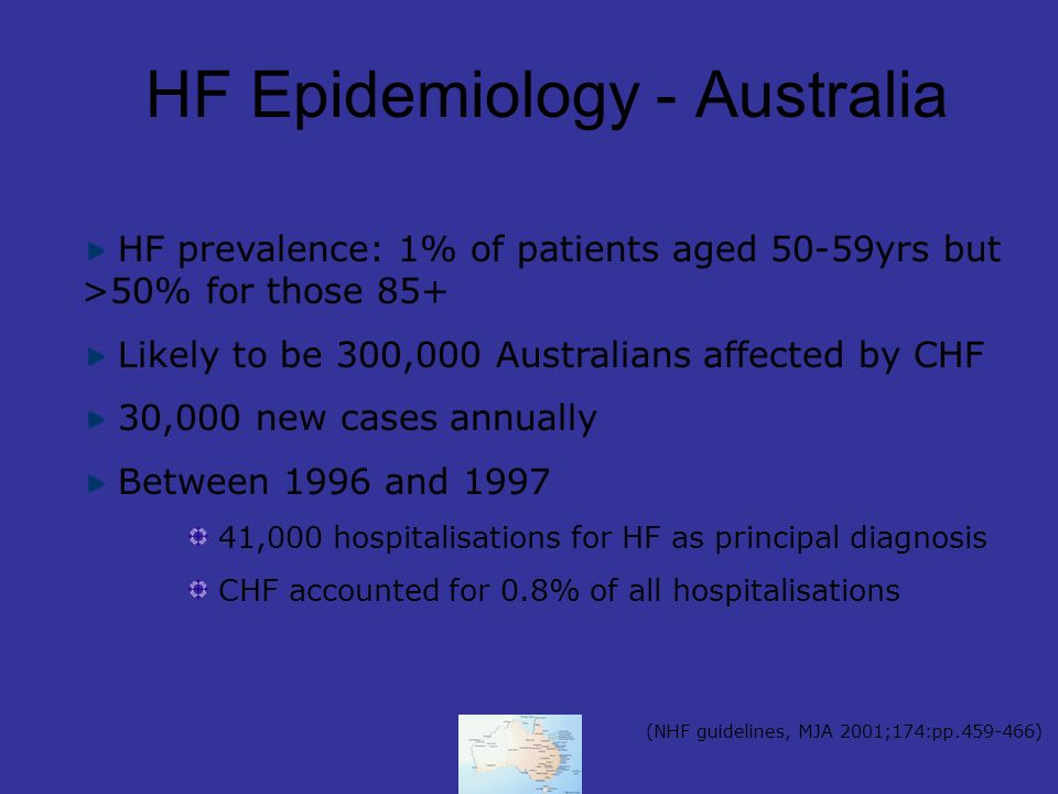 HF Epidemiology - Australia HF prevalence: 1% of patients aged 50-59yrs but >50% for those 85+ Likely to be 300,000 Australians affected by CHF 30,000 new cases annually Between 1996 and 1997 41,000 hospitalisations for HF as principal diagnosis CHF accounted for 0.8% of all hospitalisations (NHF guidelines, MJA 2001;174:pp.459-466)