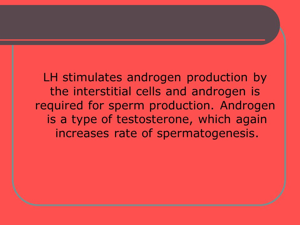 LH stimulates androgen production by the interstitial cells and androgen is required for sperm production. Androgen is a type of testosterone, which a
