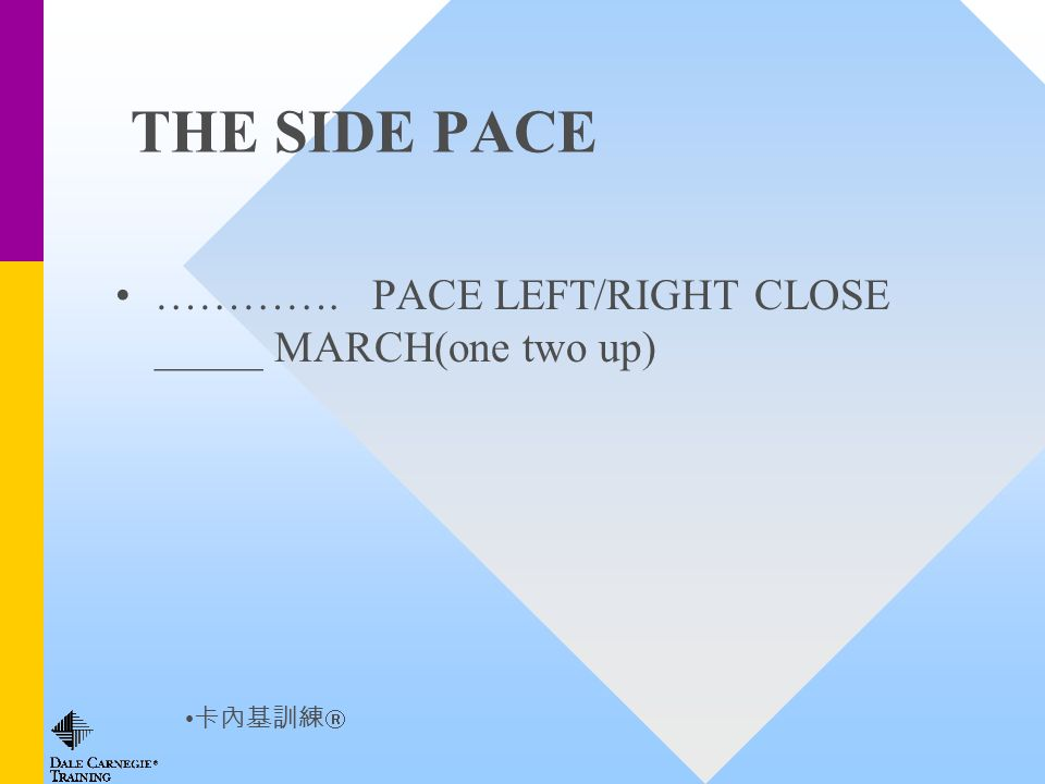 THE SIDE PACE …………. PACE LEFT/RIGHT CLOSE _____ MARCH(one two up)