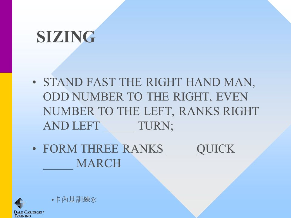 SIZING STAND FAST THE RIGHT HAND MAN, ODD NUMBER TO THE RIGHT, EVEN NUMBER TO THE LEFT, RANKS RIGHT AND LEFT _____ TURN; FORM THREE RANKS _____QUICK _____ MARCH