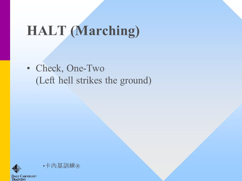 HALT (Marching) Check, One-Two (Left hell strikes the ground)