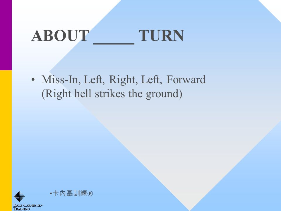 ABOUT _____ TURN Miss-In, Left, Right, Left, Forward (Right hell strikes the ground)