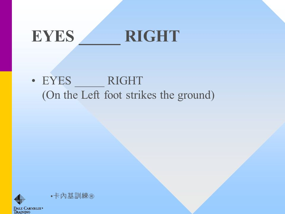 EYES _____ RIGHT EYES _____ RIGHT (On the Left foot strikes the ground)