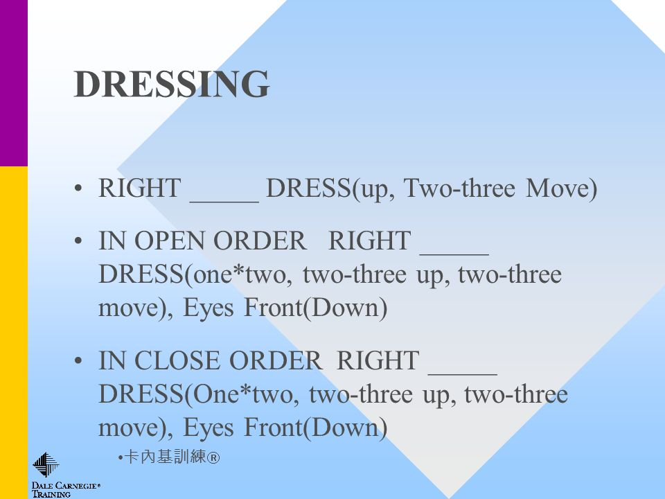 DRESSING RIGHT _____ DRESS(up, Two-three Move) IN OPEN ORDER RIGHT _____ DRESS(one*two, two-three up, two-three move), Eyes Front(Down) IN CLOSE ORDER RIGHT _____ DRESS(One*two, two-three up, two-three move), Eyes Front(Down)