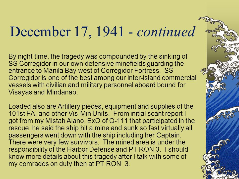 This 17 Dec 1941 entry has special although sad, significance to me personally.