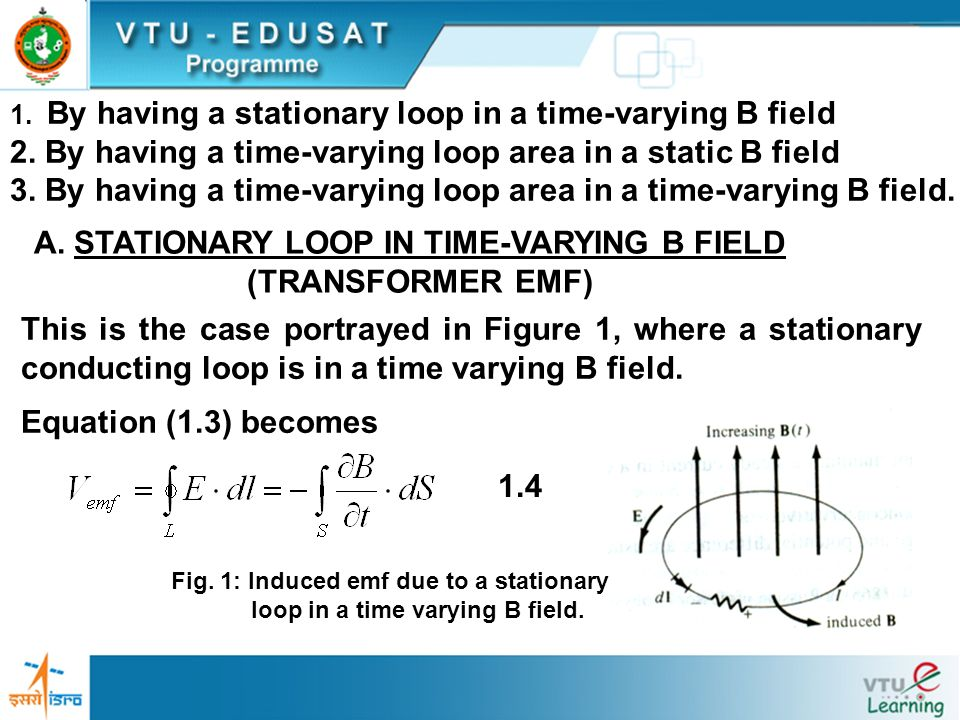 1. By having a stationary loop in a time-varying B field 2. By having a time-varying loop area in a static B field 3. By having a time-varying loop ar