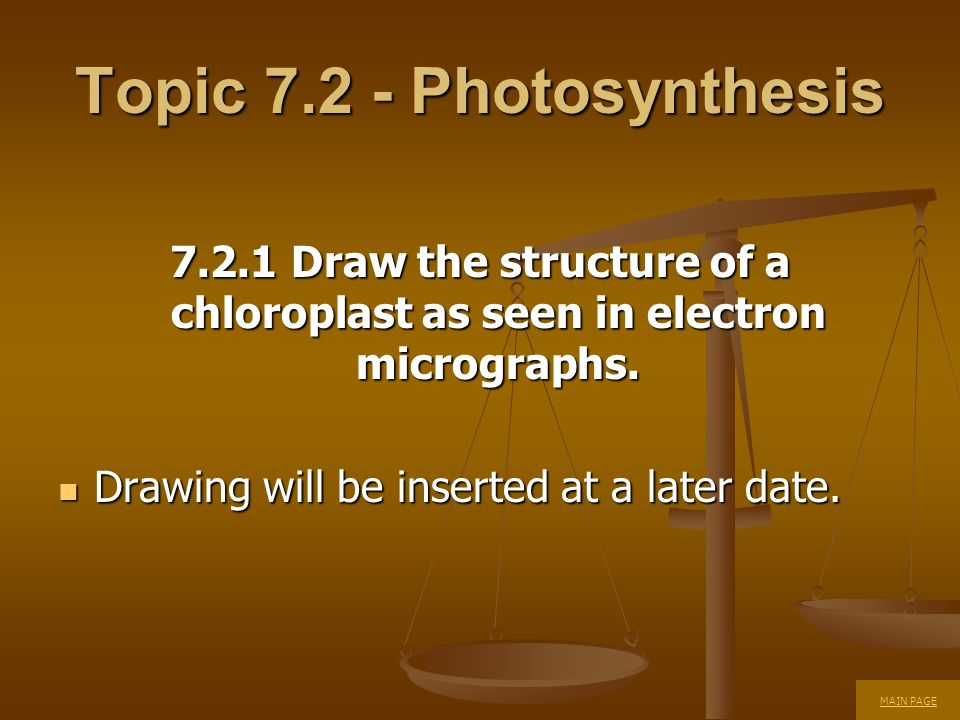 Topic 7.2 - Photosynthesis 7.2.1 Draw the structure of a chloroplast as seen in electron micrographs. Drawing will be inserted at a later date. Drawin