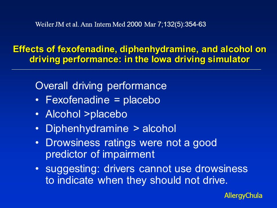 Effects of fexofenadine, diphenhydramine, and alcohol on driving performance: in the Iowa driving simulator Overall driving performance Fexofenadine =