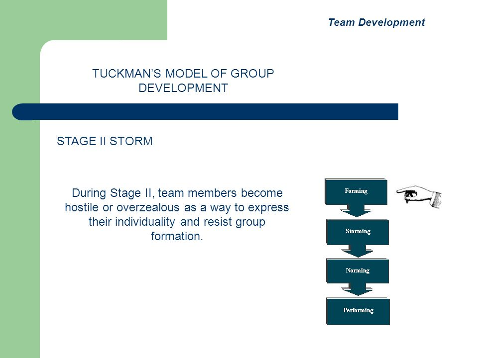 During Stage II, team members become hostile or overzealous as a way to express their individuality and resist group formation. TUCKMANS MODEL OF GROU