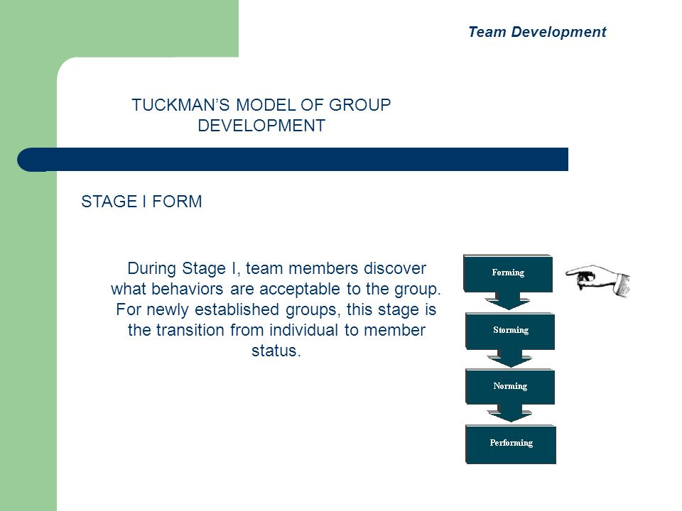 During Stage I, team members discover what behaviors are acceptable to the group. For newly established groups, this stage is the transition from indi