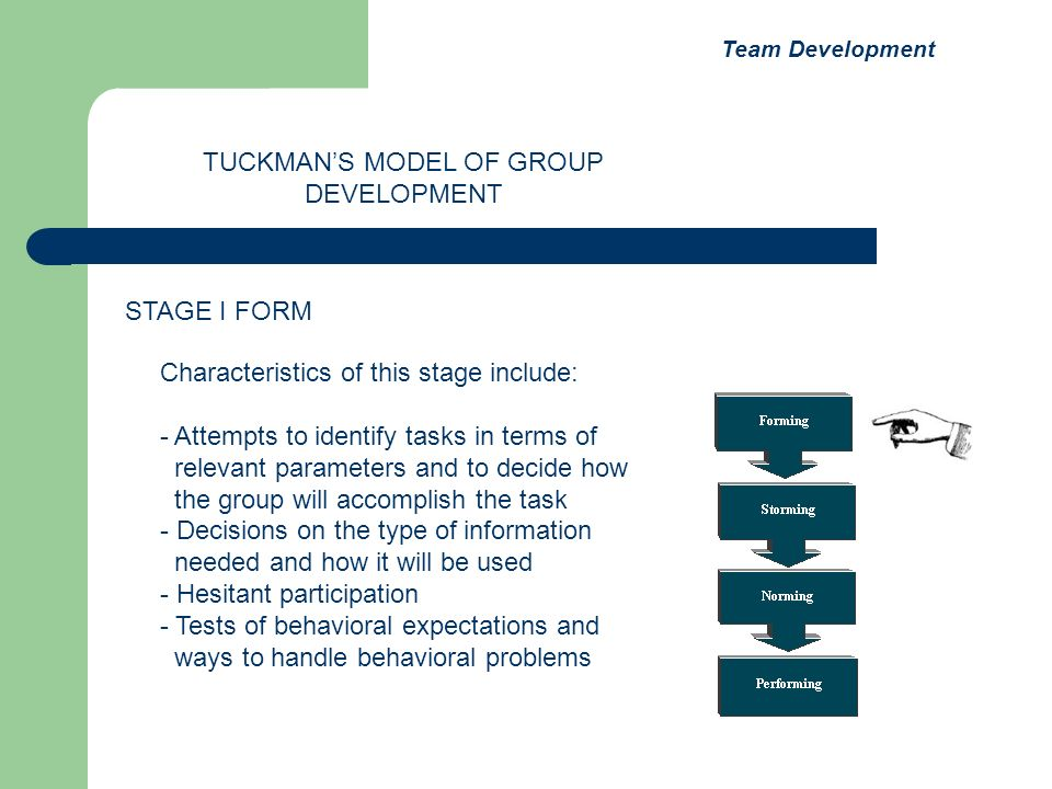 Characteristics of this stage include: - Attempts to identify tasks in terms of relevant parameters and to decide how the group will accomplish the ta