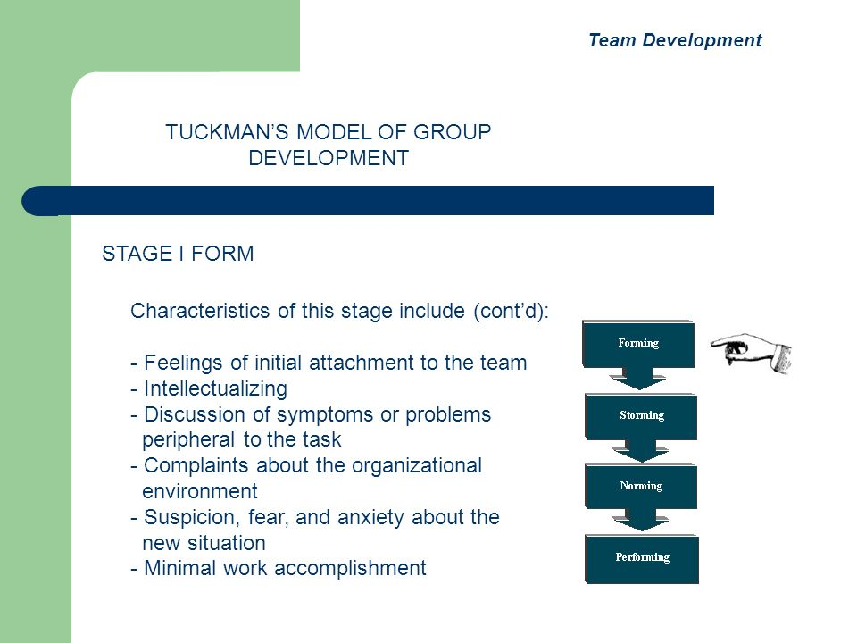 Characteristics of this stage include (contd): - Feelings of initial attachment to the team - Intellectualizing - Discussion of symptoms or problems p