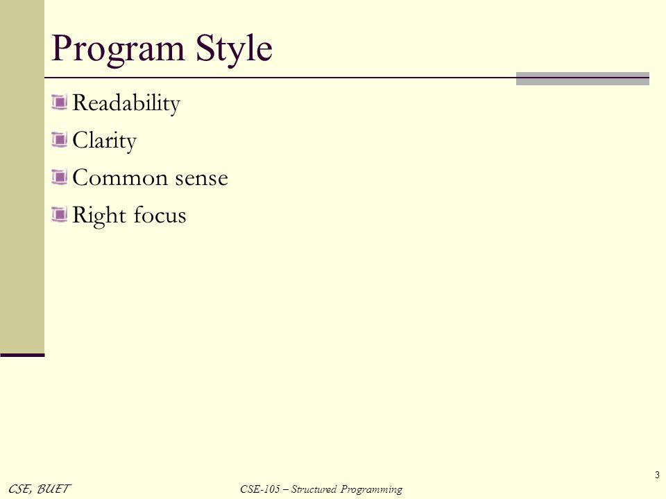 CSE-105 – Structured Programming CSE, BUET 3 Program Style Readability Clarity Common sense Right focus