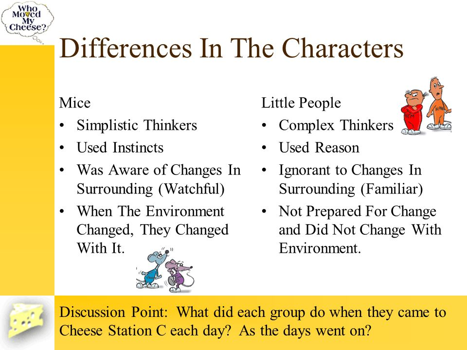 Differences In The Characters Mice Simplistic Thinkers Used Instincts Was Aware of Changes In Surrounding (Watchful) When The Environment Changed, The