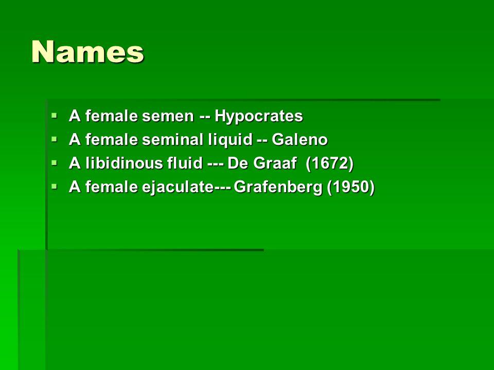 Names A female semen -- Hypocrates A female semen -- Hypocrates A female seminal liquid -- Galeno A female seminal liquid -- Galeno A libidinous fluid