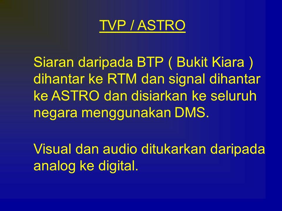 TVP / ASTRO Siaran daripada BTP ( Bukit Kiara ) dihantar ke RTM dan signal dihantar ke ASTRO dan disiarkan ke seluruh negara menggunakan DMS. Visual d
