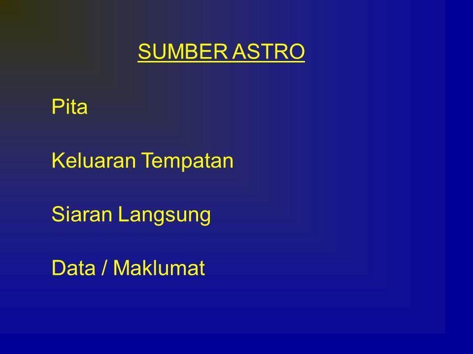 SUMBER ASTRO Pita Keluaran Tempatan Siaran Langsung Data / Maklumat