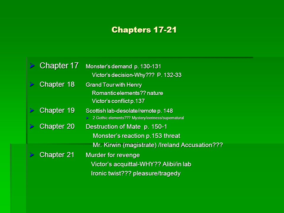Chapters 17-21 Chapter 17 Monsters demand p. 130-131 Chapter 17 Monsters demand p. 130-131 Victors decision-Why??? P. 132-33 Victors decision-Why??? P