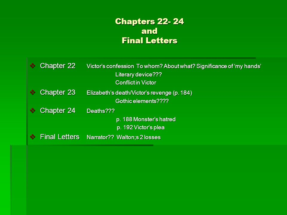 Chapters 22- 24 and Final Letters Chapter 22 Victors confession To whom.