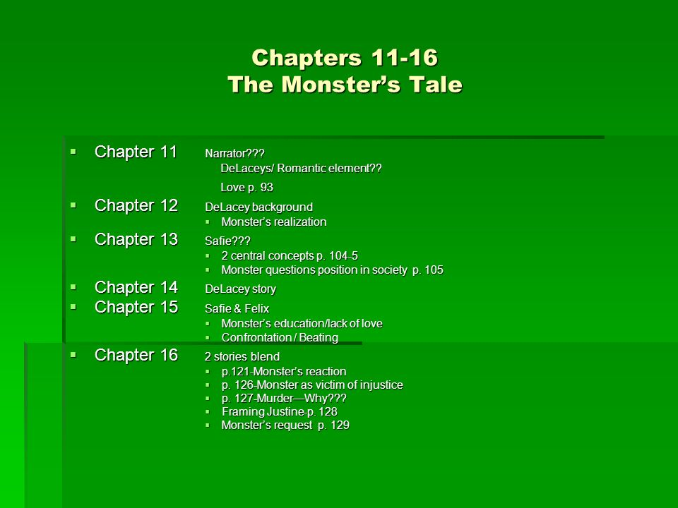 Chapters 11-16 The Monsters Tale Chapter 11 Narrator??? Chapter 11 Narrator??? DeLaceys/ Romantic element?? DeLaceys/ Romantic element?? Love p. 93 Lo