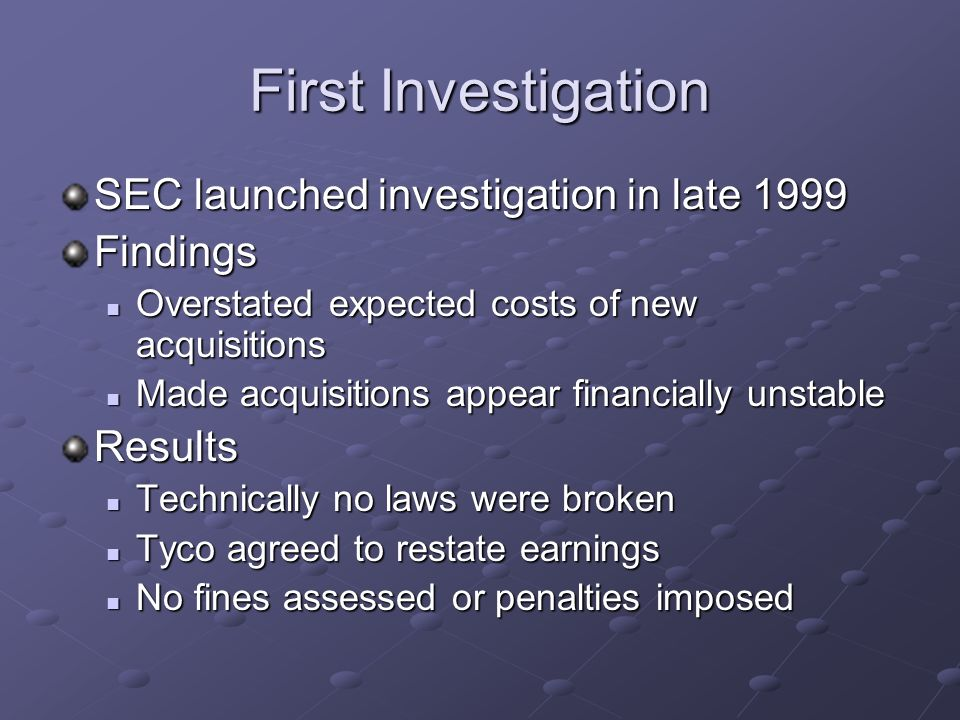 Legal Requirements No law against overstating future cost Tyco would restate earnings June 2004: Tax evasion charges Personal purchases as companies expense What is legal, is not always right!