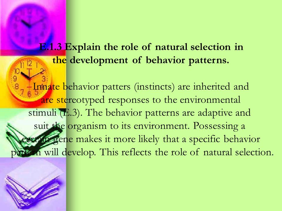 E.1.3 Explain the role of natural selection in the development of behavior patterns. Innate behavior patters (instincts) are inherited and are stereot