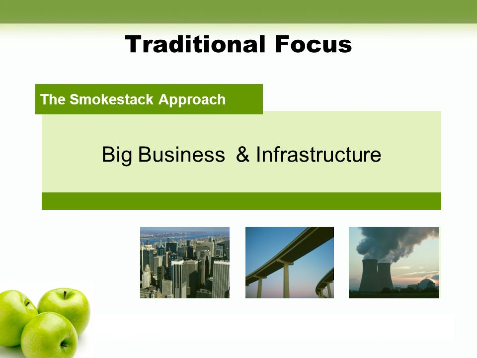 Traditional Focus Big Business & Infrastructure The Smokestack Approach