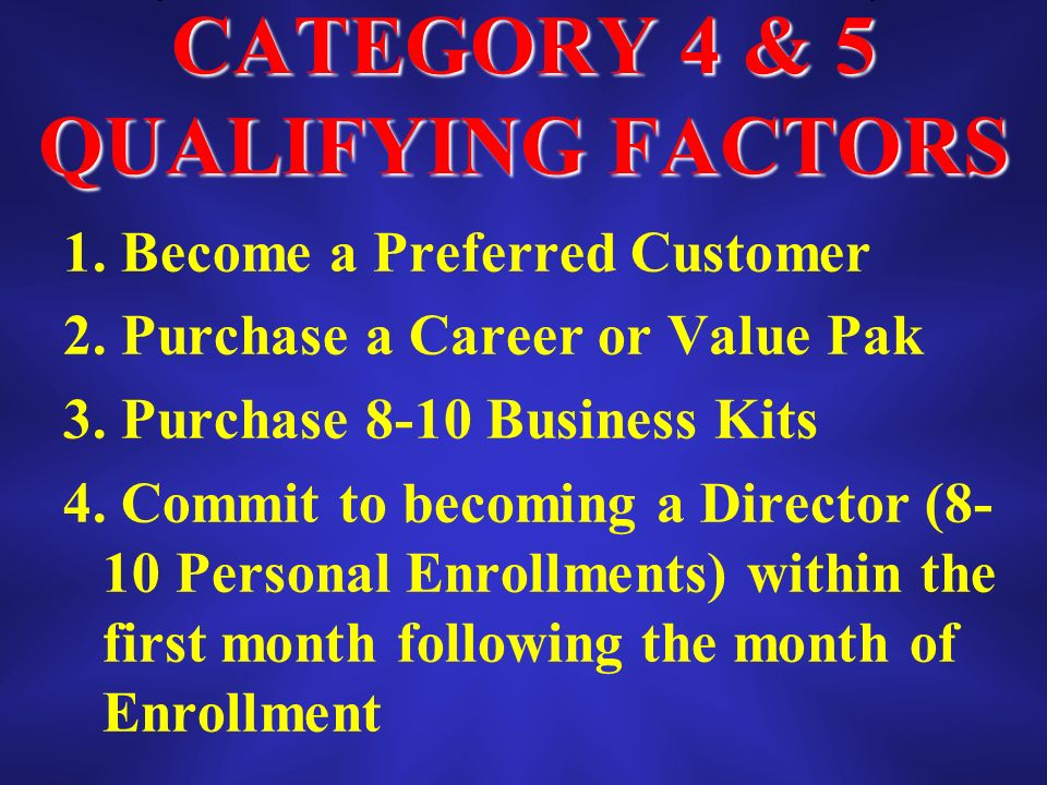 CATEGORY 4 & 5 QUALIFYING FACTORS 1. Become a Preferred Customer 2.