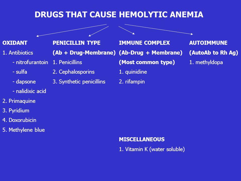 DRUGS THAT CAUSE HEMOLYTIC ANEMIA OXIDANT 1. Antibiotics - nitrofurantoin - sulfa - dapsone - nalidixic acid 2. Primaquine 3. Pyridium 4. Doxorubicin