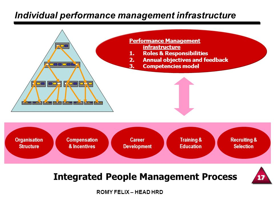 17 ROMY FELIX – HEAD HRD Individual performance management infrastructure Performance Management infrastructure 1.Roles & Responsibilities 2.Annual ob