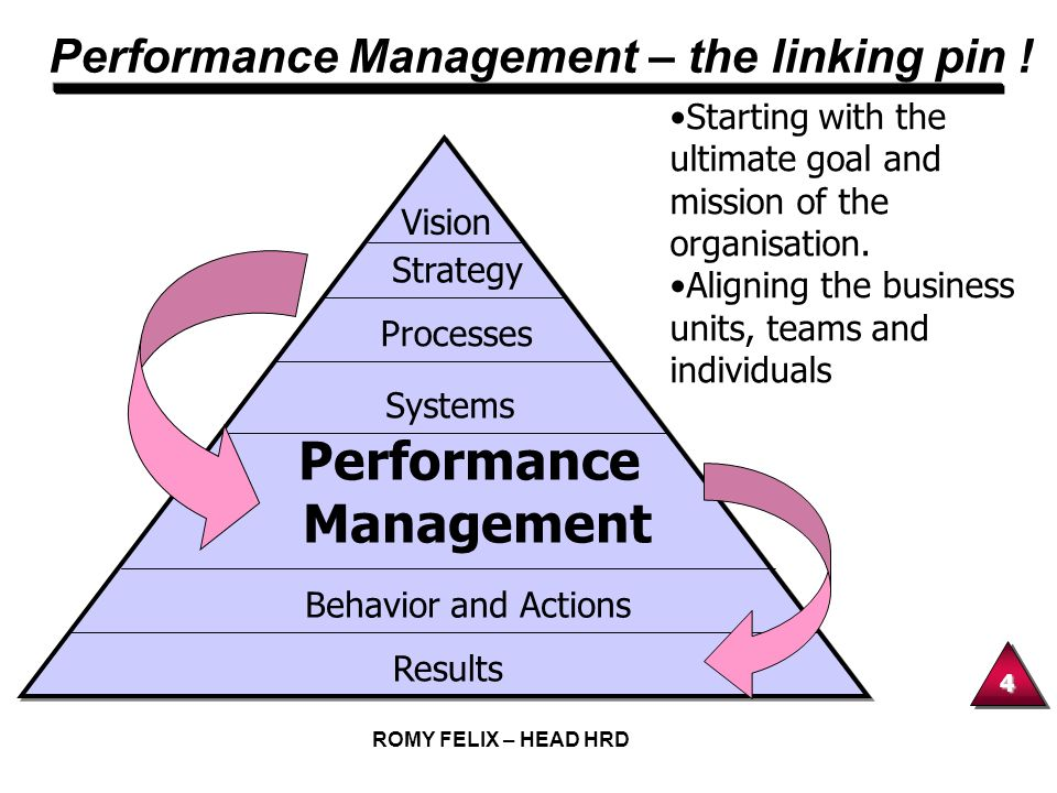 4 ROMY FELIX – HEAD HRD Performance Management – the linking pin ! Starting with the ultimate goal and mission of the organisation. Aligning the busin