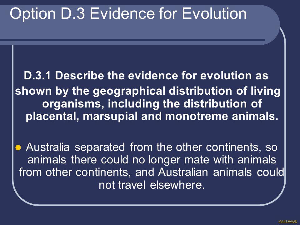 Option D.3 Evidence for Evolution D.3.1 Describe the evidence for evolution as shown by the geographical distribution of living organisms, including t