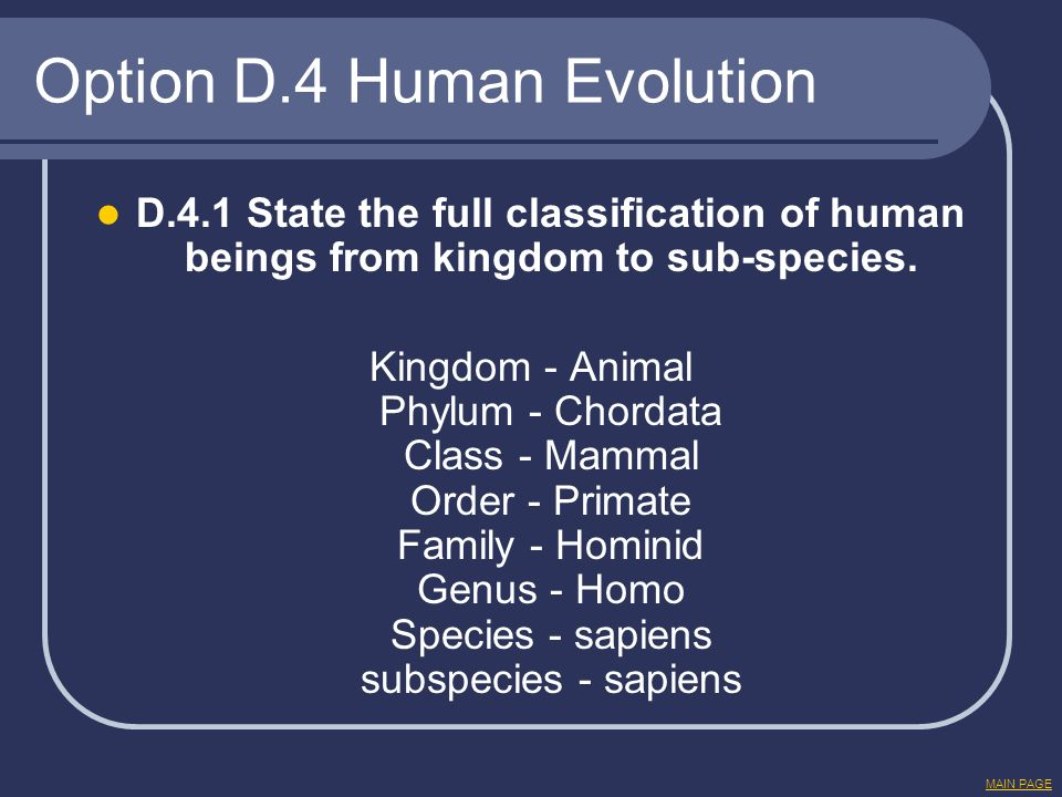 Option D.4 Human Evolution D.4.1 State the full classification of human beings from kingdom to sub-species. Kingdom - Animal Phylum - Chordata Class -