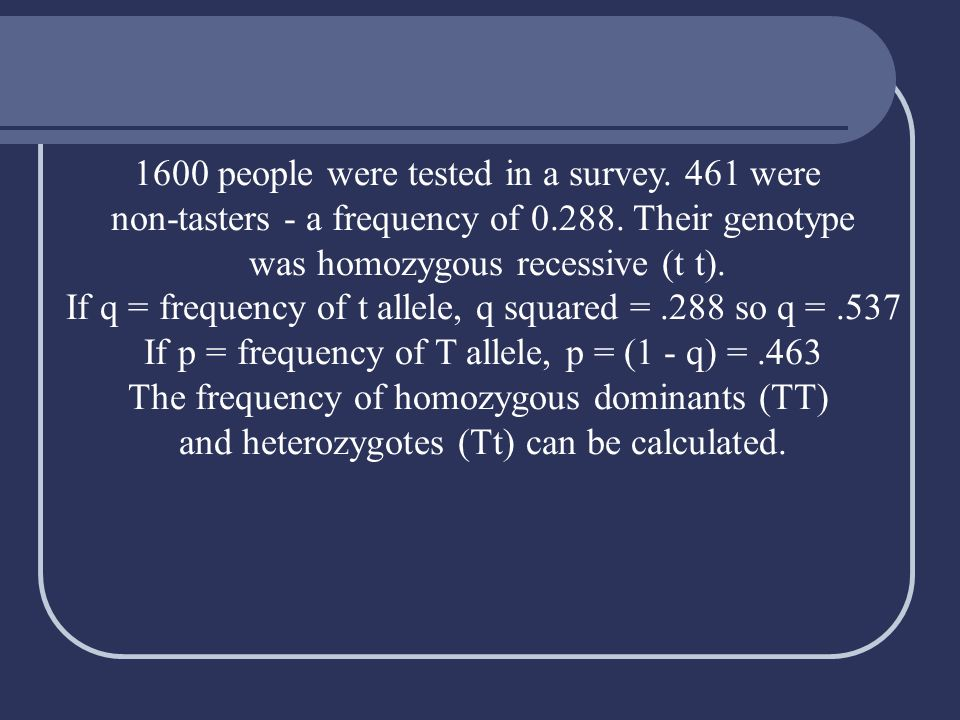 1600 people were tested in a survey. 461 were non-tasters - a frequency of 0.288. Their genotype was homozygous recessive (t t). If q = frequency of t