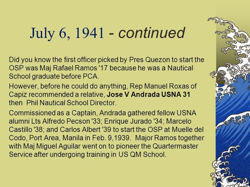 Col. Jose V Andrada Chief OSP 1939-41 & 1945-47, USNA 1931 Pioneered OSP