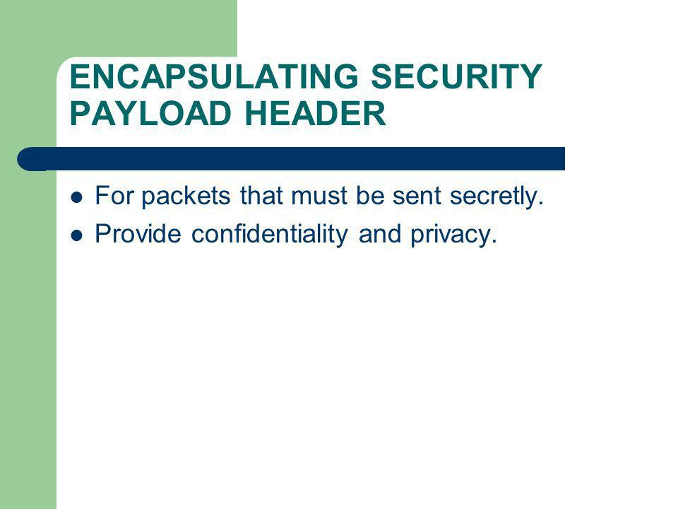 ENCAPSULATING SECURITY PAYLOAD HEADER For packets that must be sent secretly. Provide confidentiality and privacy.