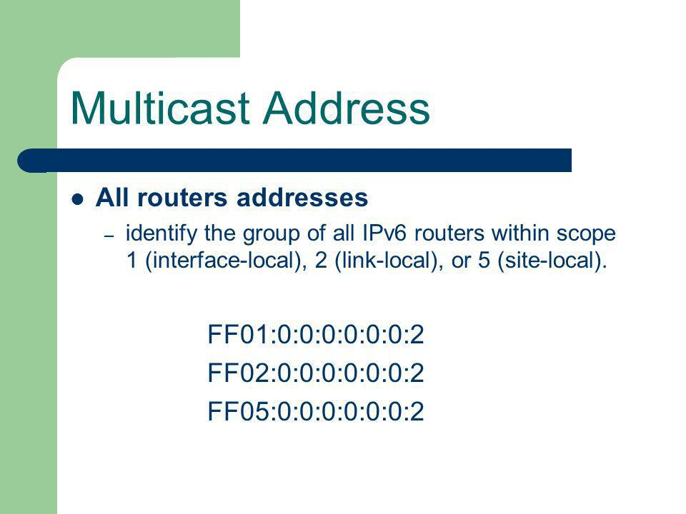Multicast Address All routers addresses – identify the group of all IPv6 routers within scope 1 (interface-local), 2 (link-local), or 5 (site-local).
