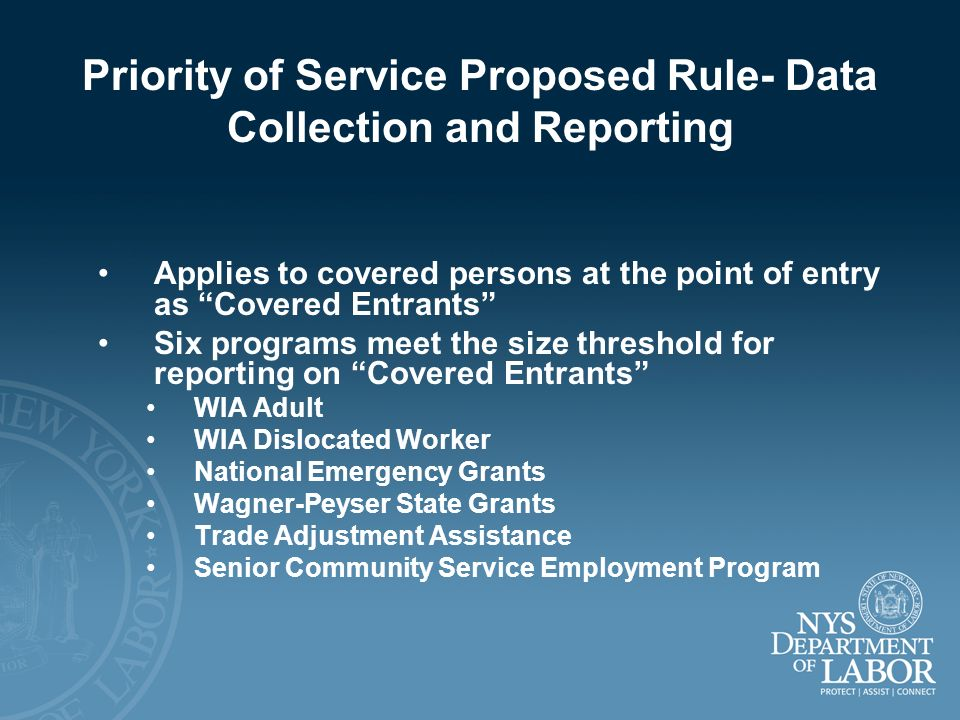 Priority of Service Proposed Rule- Data Collection and Reporting Applies to covered persons at the point of entry as Covered Entrants Six programs mee