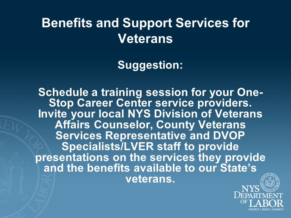 Benefits and Support Services for Veterans Suggestion: Schedule a training session for your One- Stop Career Center service providers. Invite your loc