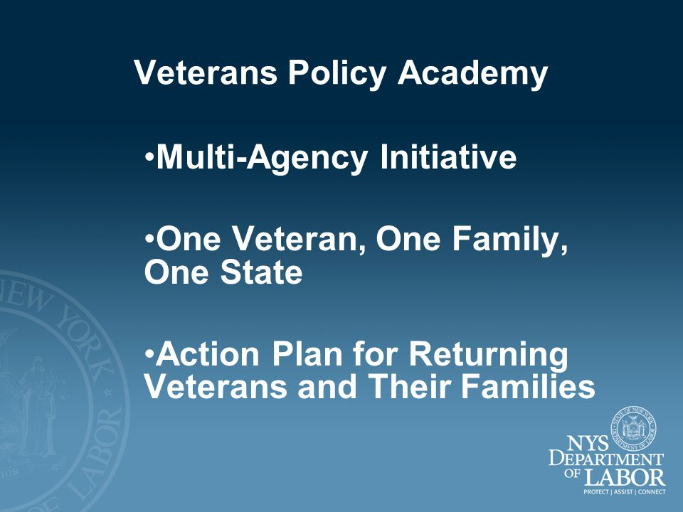 Veterans Policy Academy Multi-Agency Initiative One Veteran, One Family, One State Action Plan for Returning Veterans and Their Families